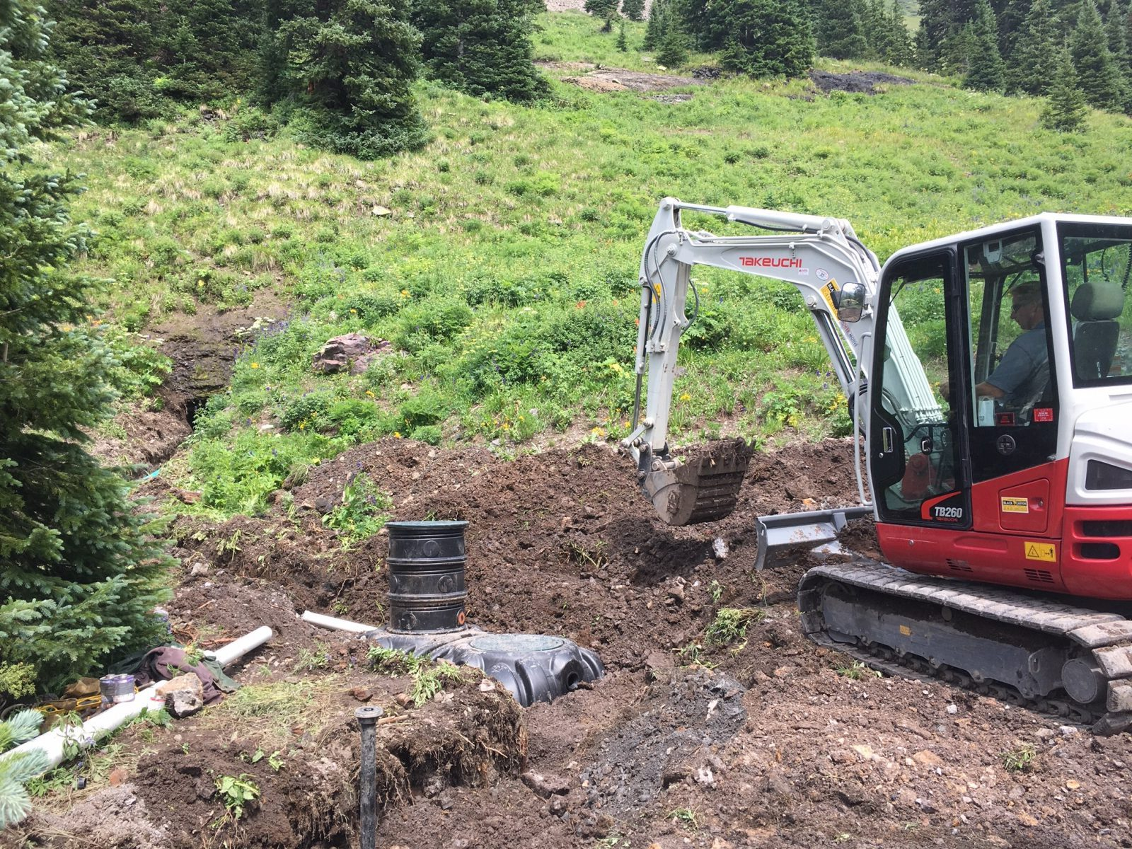 excavation for water lines in Colorado